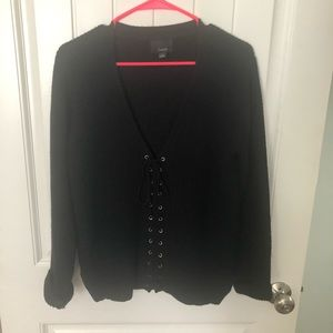 Black sweater with center tie detailing